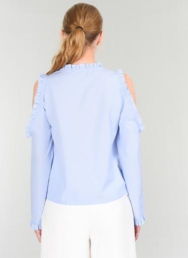 People By Fabrika Fırfırlı Gömlek Mavi